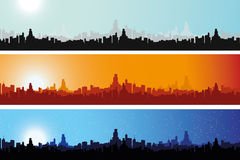Illustrated Cityscape throughout the day Stock Photos