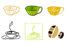 Illustrated coffee icons Stock Photos