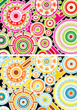 Illustrated colorful cogs. Illustration of colorful circles and cogs in pink, red, green and blue, yellow and orange Royalty Free Stock Photos