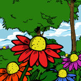 Illustrated colorful daisies Stock Image