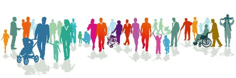 Illustrated colorful families Royalty Free Stock Photography