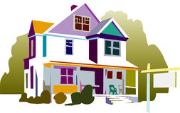Illustrated colorful home Stock Photography