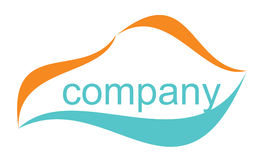 Illustrated company logo. Company logo of turquoise and orange, isolated against a white background Stock Photography