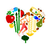 An illustrated composition of everything you need to take care of your heart Stock Photos
