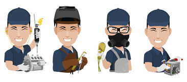 Illustrated craftsmen. Craftsmen including factory assembler, welder, painter and electrician illustrated on white Stock Photos