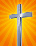 Illustrated cross and sun rays. An illustration of a brushed silver cross with rays representing yellow and orange sunlight radiating in all directions from vector illustration