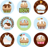 Illustrated Cupcake Circles For Boys Stock Photos