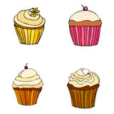Illustrated cupcakes Stock Photos