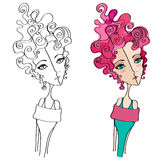 Illustrated cute abstract girl Stock Images