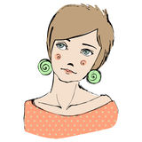 Illustrated cute abstract girl Royalty Free Stock Image