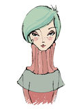 Illustrated cute abstract girl Stock Image