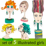 Illustrated cute abstract girls Stock Photography
