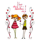 Illustrated cute couple with flower Stock Image