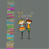 Illustrated cute couple with flower Stock Images