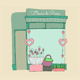 Illustrated cute flower shop. With retro background Royalty Free Stock Photo
