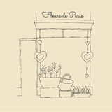 Illustrated cute flower shop Royalty Free Stock Photography