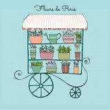 Illustrated cute flower shop. Vector illustrated cute flower shop on wheels Royalty Free Stock Images