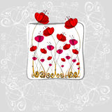 Illustrated cute flowers Royalty Free Stock Images