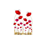 Illustrated cute flowers Stock Images