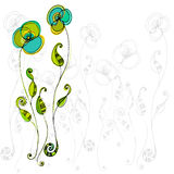 Illustrated cute flowers Royalty Free Stock Photos