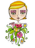 Illustrated cute girl with flowers Stock Photos