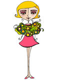 Illustrated cute girl with flowers Royalty Free Stock Image