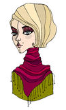 Illustrated cute girl with scarf Royalty Free Stock Photography