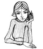 Illustrated cute girl with telephone Stock Photos