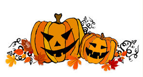 Illustrated cute Halloween pumpkins Stock Photo
