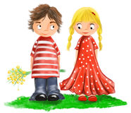 Illustrated cute lovers children. Cute boy with flowers and nice girl with blond tress in red dress with white dots Stock Images