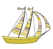 Illustrated cute sailing boat Royalty Free Stock Images