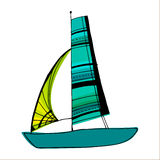 Illustrated cute sailing boats Royalty Free Stock Image