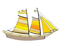 Illustrated cute sailing boats Royalty Free Stock Photography