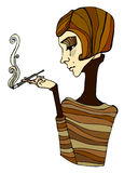 Illustrated cute smoking girl Royalty Free Stock Image