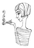 Illustrated cute smoking girl Stock Photography