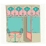 Illustrated cute street cafe Stock Images