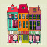 Illustrated cute street view. Vector illustrated cute street view with coffee shops Stock Image