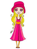 Illustrated cute summer girl Royalty Free Stock Photography