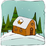 Illustrated cute winter landscape. With little house on the hill Stock Image