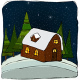 Illustrated cute winter landscape. With little house on the hill Stock Photos