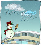 Illustrated cute winter landscape. With snowman Stock Image