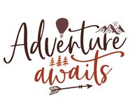 Free Illustrated Decorative Adventure Awaits Quote Stock Photo - 141693150