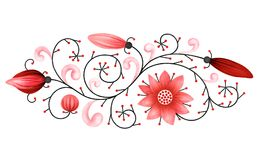Decorative red element on white background. Illustrated decorative red floral element isolated on white background, motif Vector Illustration