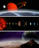 Illustrated diagram showing the planets Stock Photos