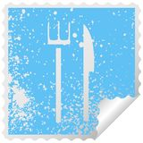 Distressed square peeling sticker symbol of a knife and fork. Illustrated distressed square peeling sticker symbol of a knife and fork vector illustration