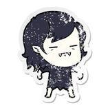 Distressed sticker of a cartoon undead vampire girl. Illustrated distressed sticker of a cartoon undead vampire girl stock illustration