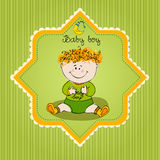 Illustrated doodle Baby arrival card Stock Photo