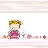 Illustrated doodle Baby arrival card Royalty Free Stock Image