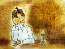 Illustrated drunk boy Stock Photos