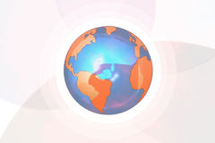 Illustrated earth. Illustration of blue and orange earth with light gray arc background Royalty Free Stock Photography